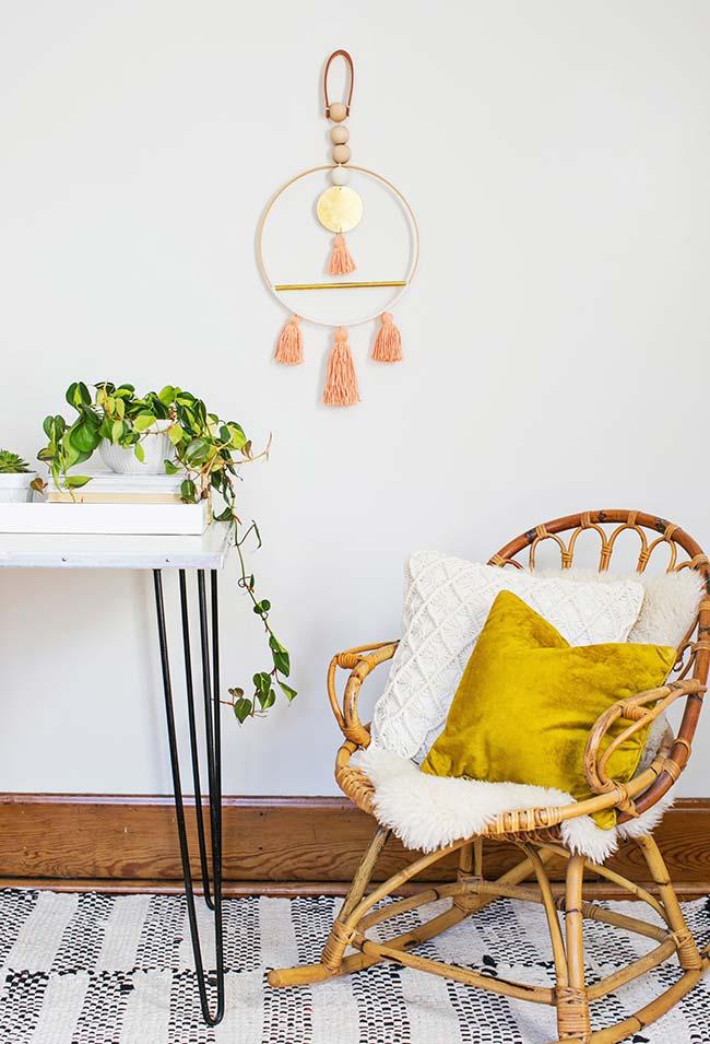 cadeira de balanço de bambu