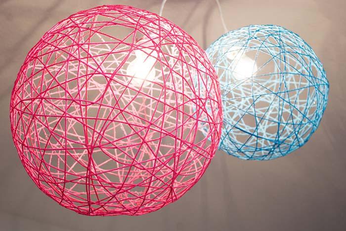 Luminária de barbante: 65 ideias e como fazer passo a passo