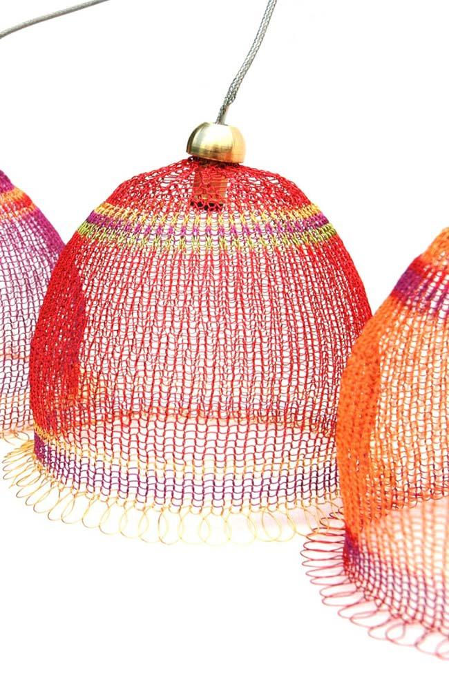 Cobertura de cúpula para lustre em tricô