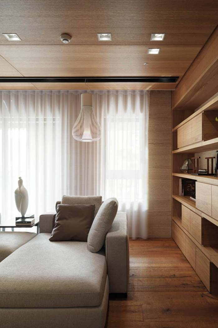 Forro de madeira na sala