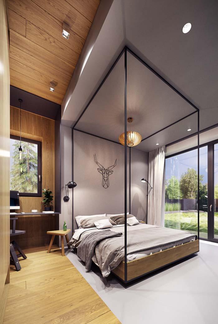 Forro de madeira em apenas uma faixa do quarto