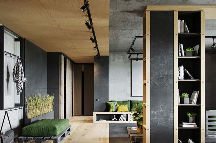 Placas de madeira para um ambiente de estilo urbano industrial