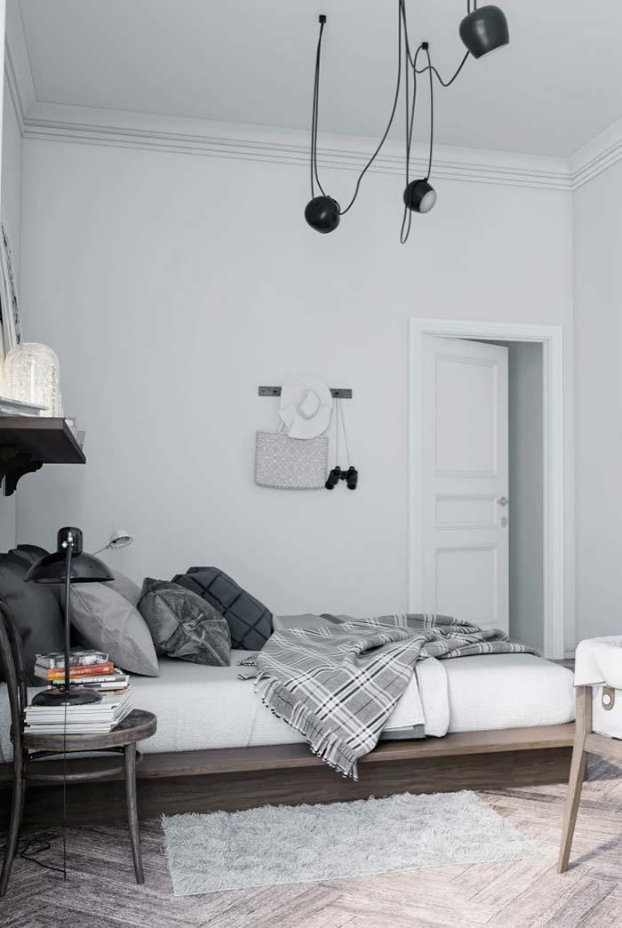 Quarto Tumblr branco e cinza
