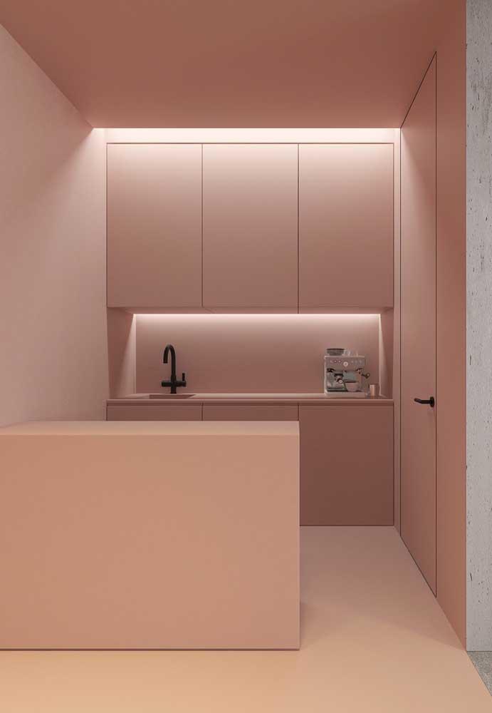 A cozinha rosa pode ser uma ótima opção para quem deseja ter um ambiente mais clean e sofisticado.