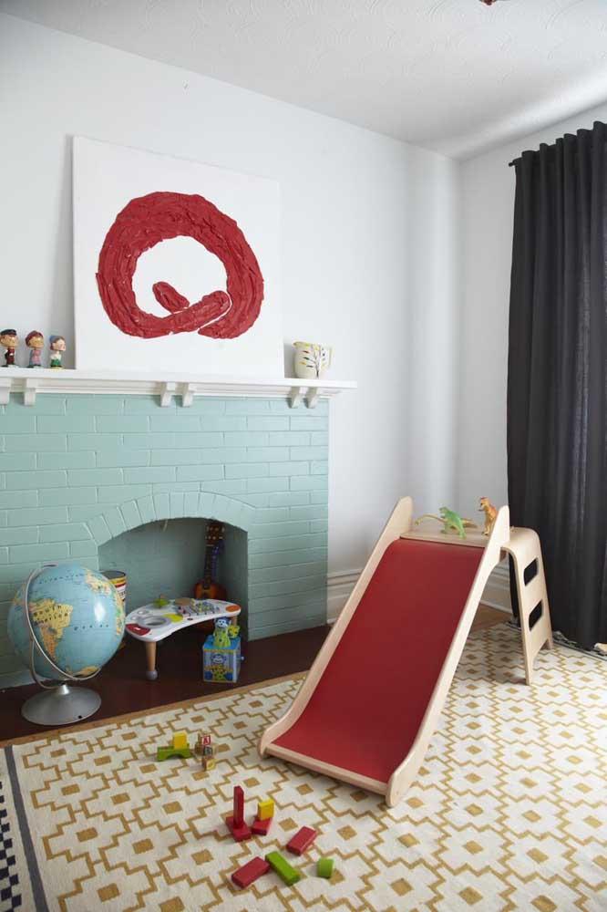 No quarto infantil, os tijolos à vista podem e devem receber uma cor diferenciada