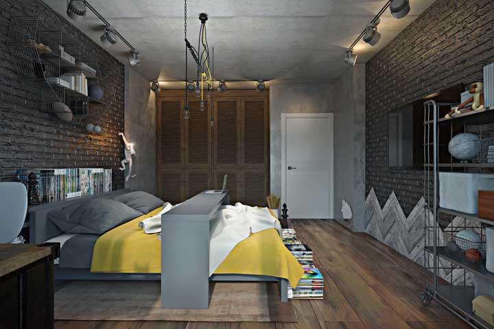 A combinação entre parede de tijolinhos à vista e cimento queimado é perfeita para o estilo industrial