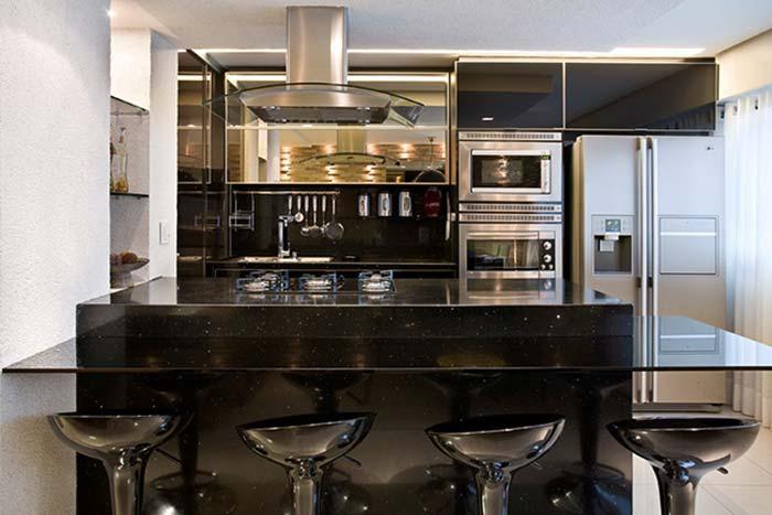 Ilha da cozinha em Preto Stellar