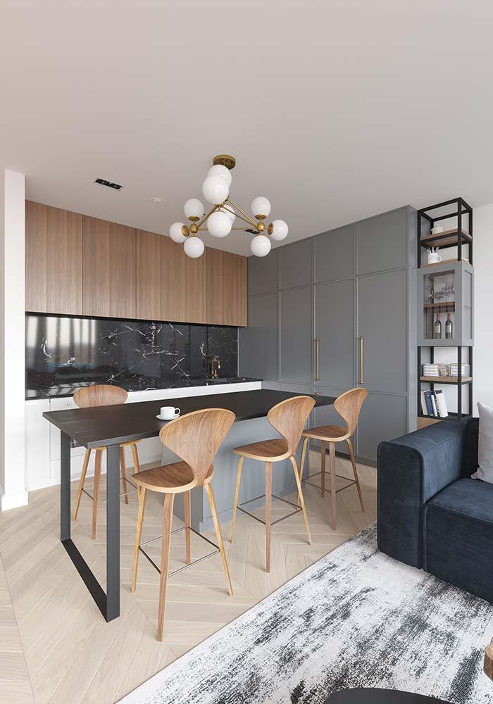 Bancada de cozinha e revestimento de parede com granito Via Láctea