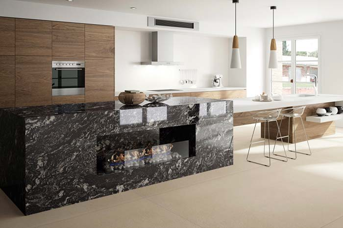 Granito Preto Indiano em cozinha clean