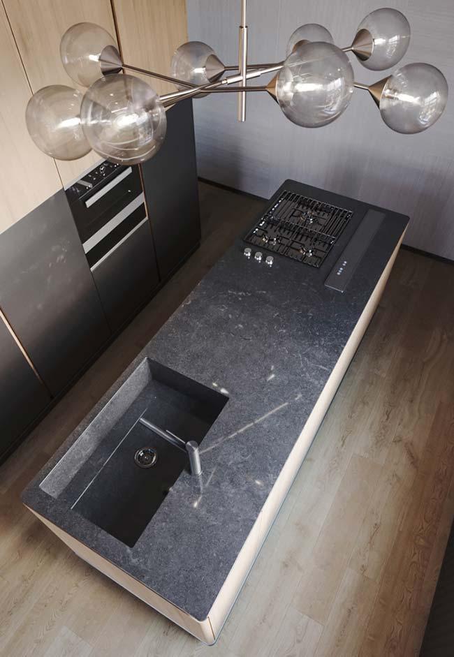 Granito preto Aracruz na ilha da cozinha