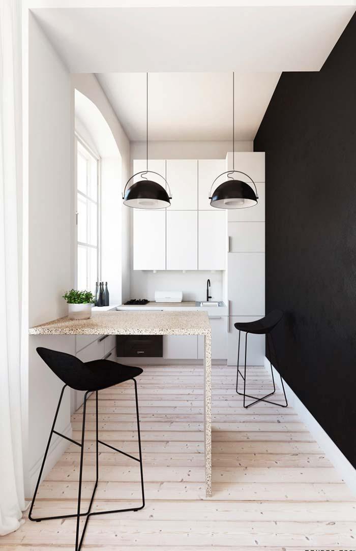 Parede preta na cozinha preta e branca