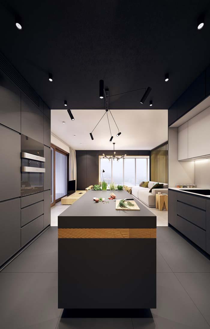 Preto absoluto na cozinha preta e branca