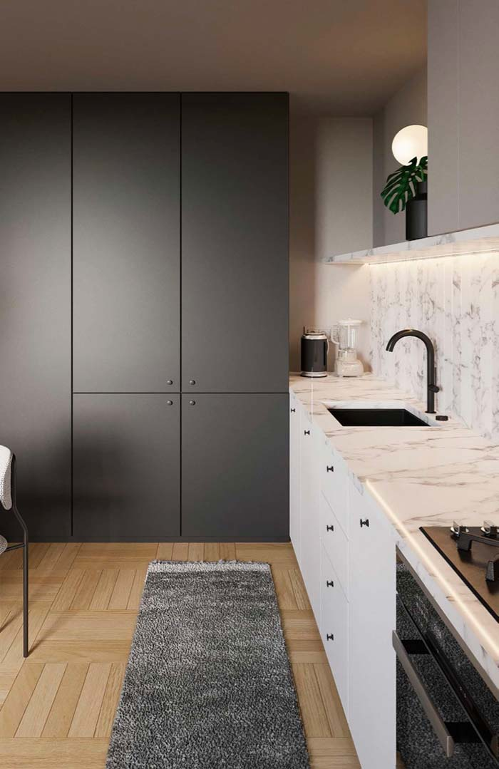 Cozinha preta e branca delicada