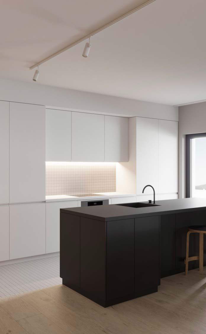 Cozinha preta e branca minimalista