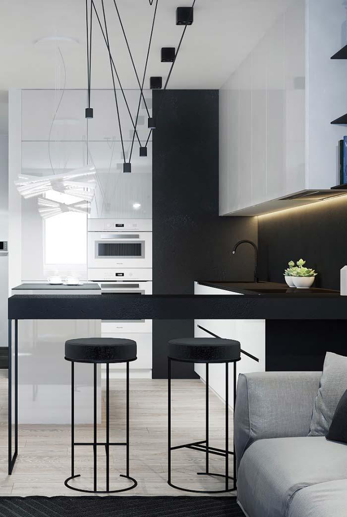 Cozinha preta e branca: alto valor estético