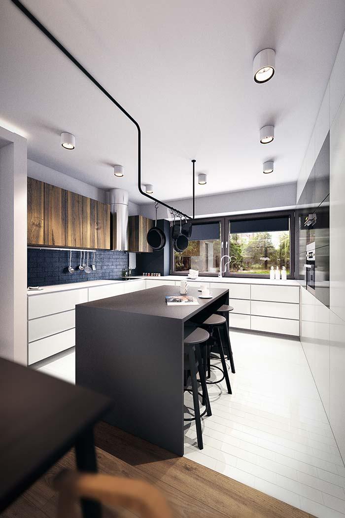 Cozinha preta e branca: cinturão preto