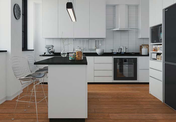 Cozinha preta e branca clássica