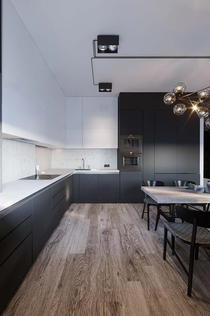 Cozinha preta e branca simples: preto em cima, branco em baixo