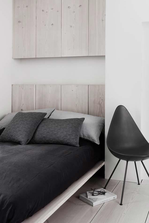 Mais um exemplo de cama japonesa num clima minimalista