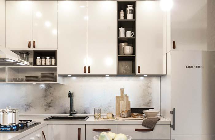 Nichos para uma cozinha clean e sóbria