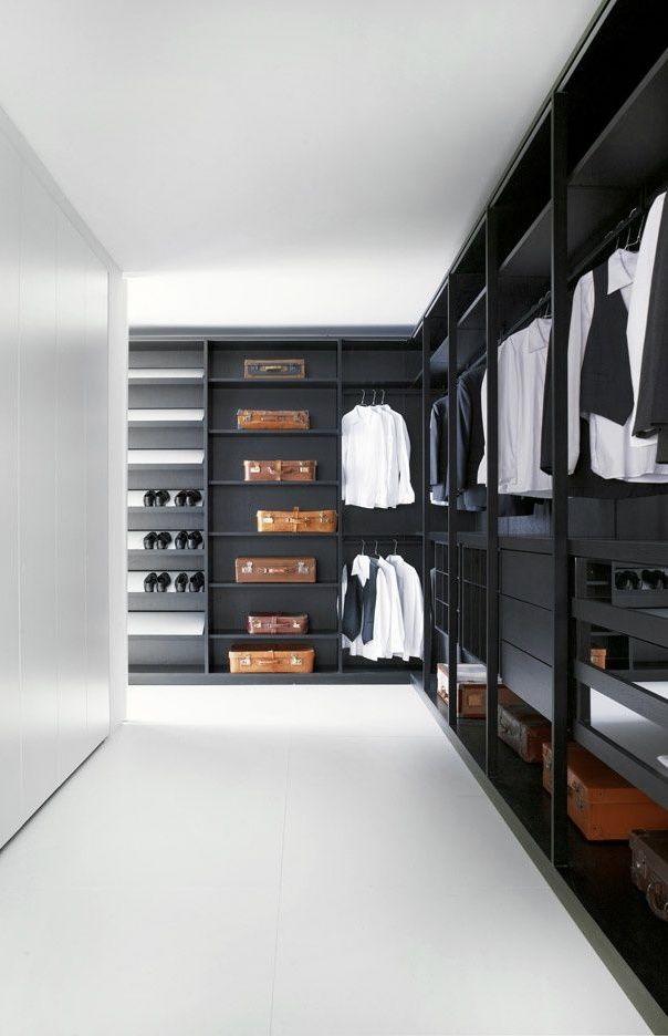 Closet masculino em preto e branco
