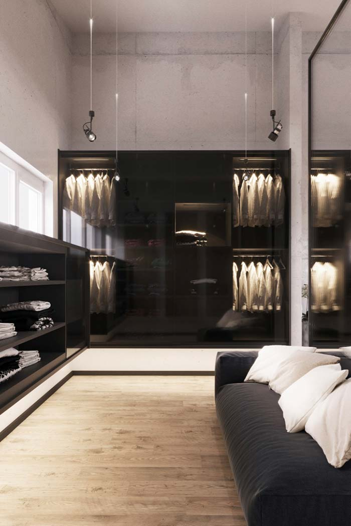 Closet masculino de cores neutras