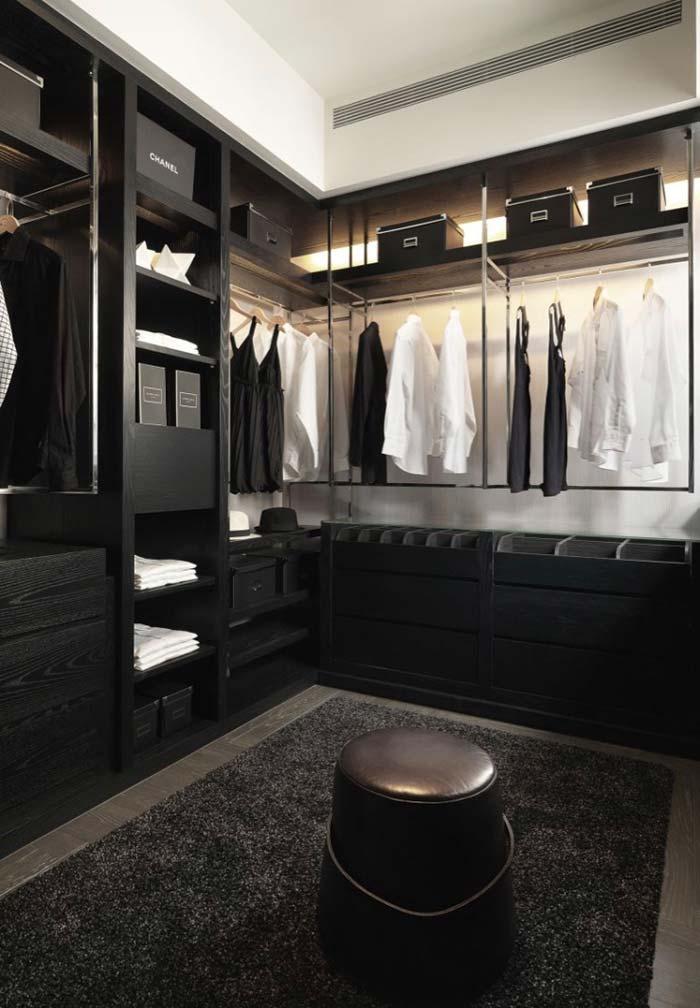 Compartimentos e divisórias no closet