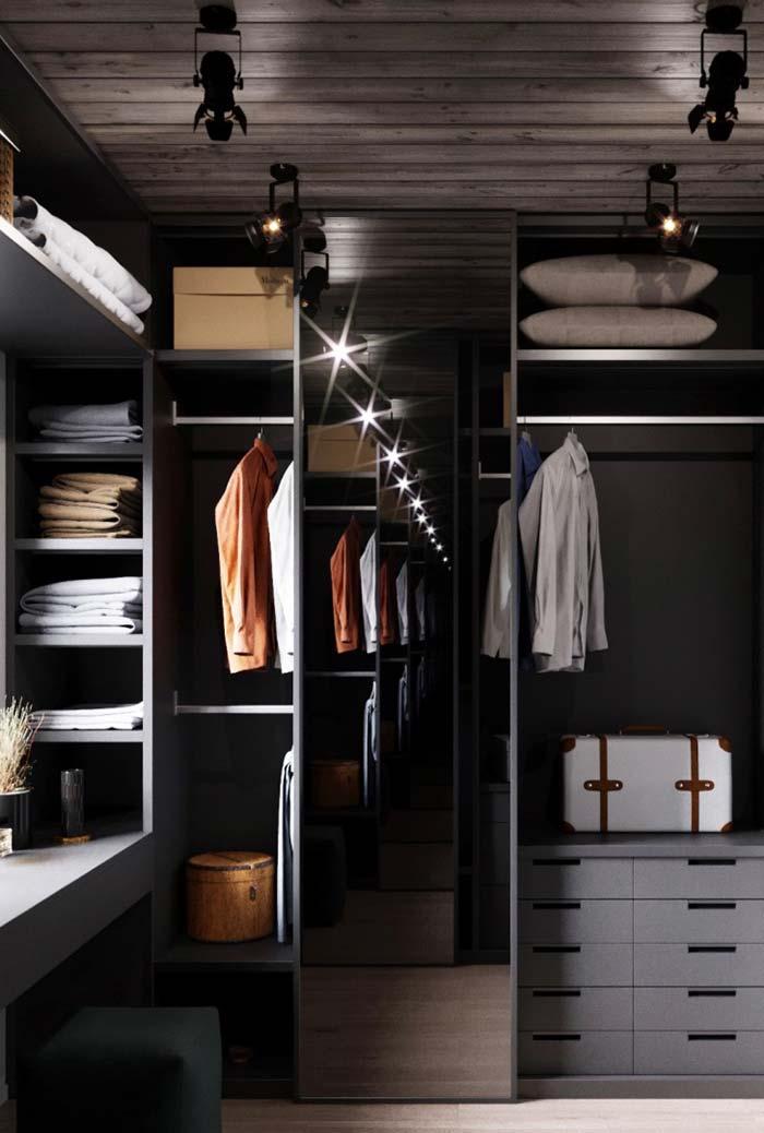 Closet em preto e cinza