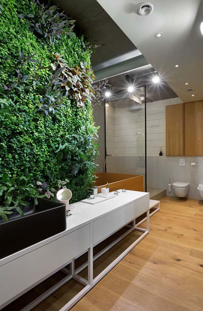 Jardim vertical no banheiro