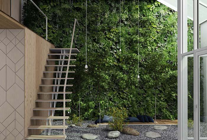 Jardim vertical também pode ser utilizado para valorizar uma parede