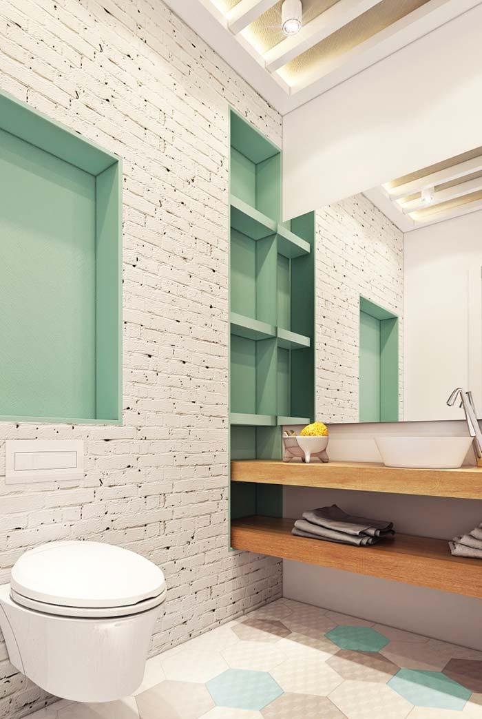 Lavabo com nichos na parede