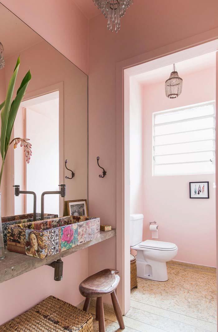 Lavabo cor de rosa