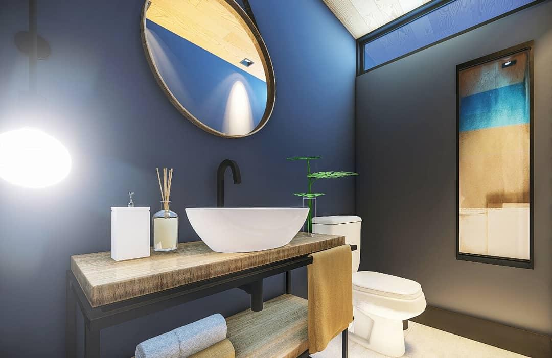 Lavabo com parede azul