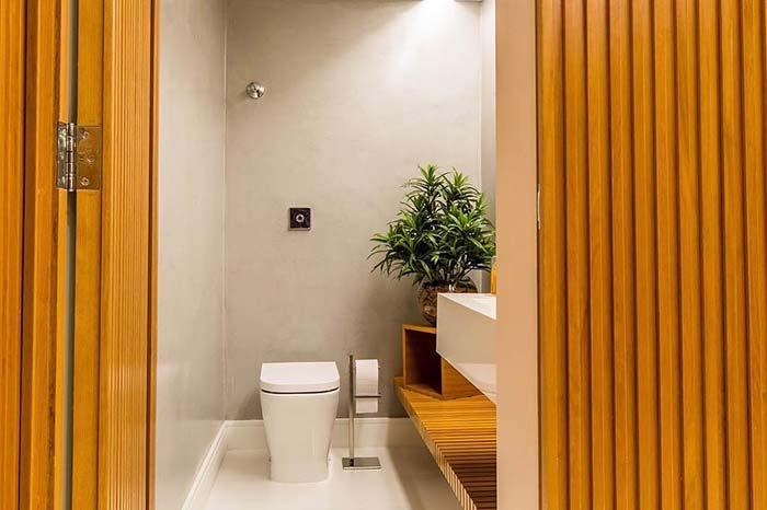 Balcão de madeira no lavabo