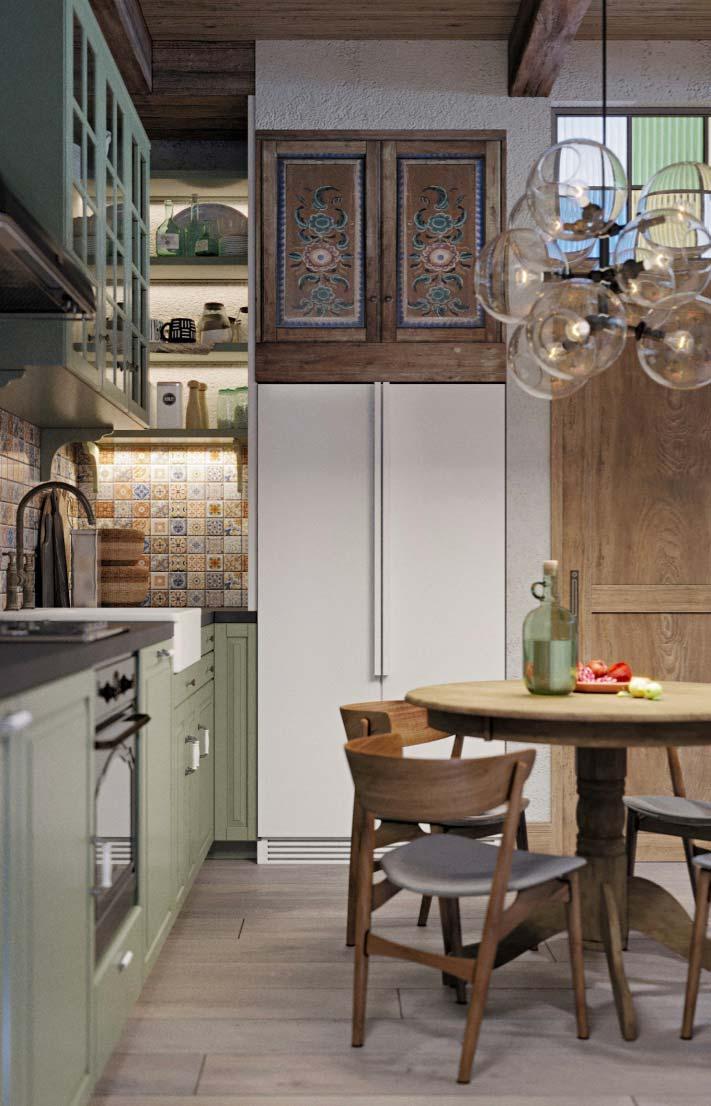 Cozinha provençal: do verde pastel do antigo armário ao teto de madeira