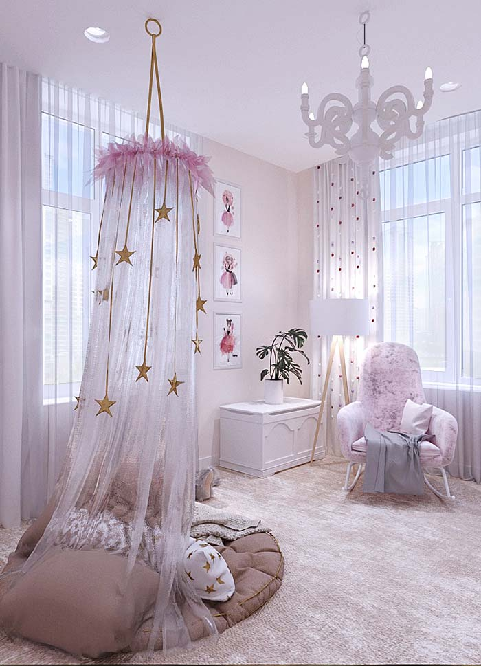 Quartinho provençal para meninas em branco e rosa