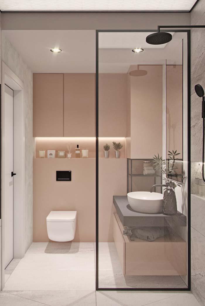 Harmonia de cores e formas no banheiro feminino