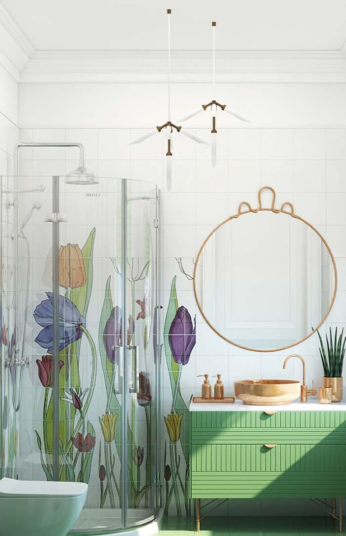 Banheiro feminino cheio de flores