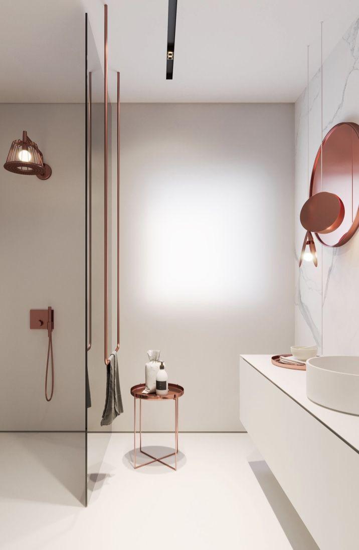 Cobre para sofisticação e elegância no banheiro feminino