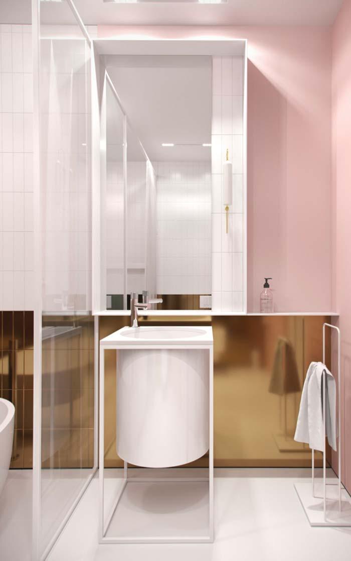 Combinação perfeita para o banheiro feminino: rosa e dourado