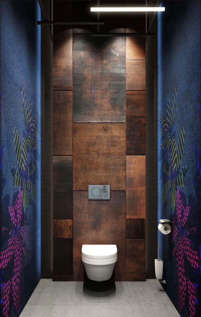 Banheiro feminino com paredes vibrantes