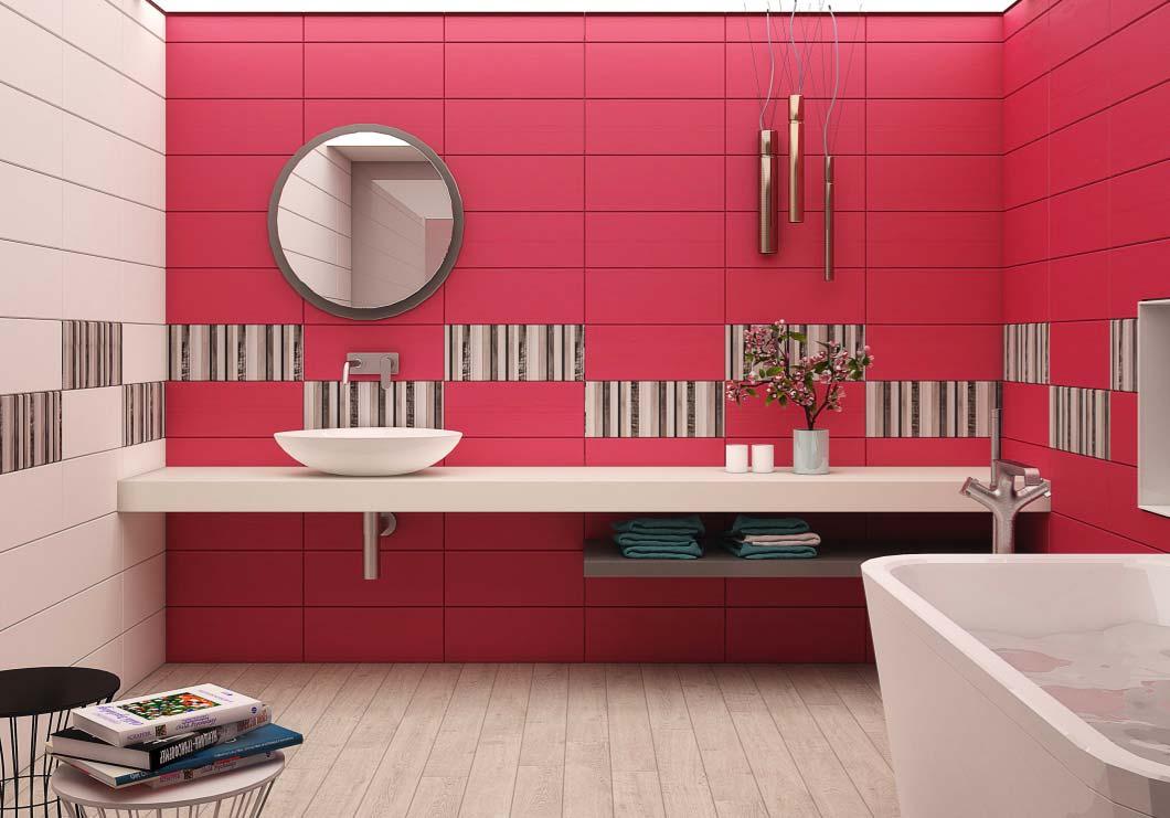Banheiro feminino com linhas modernas