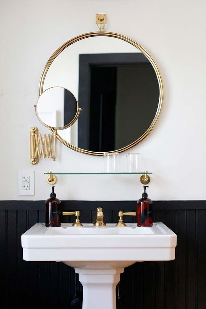 Dupla funcional de espelho para banheiro