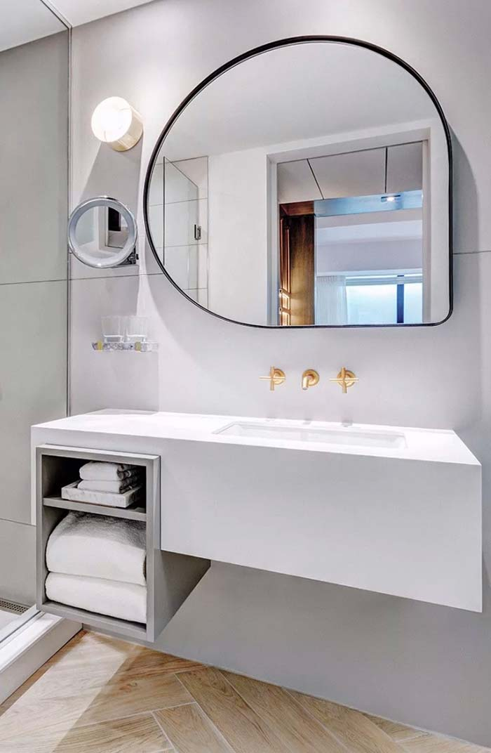 Espelho para banheiro curvo