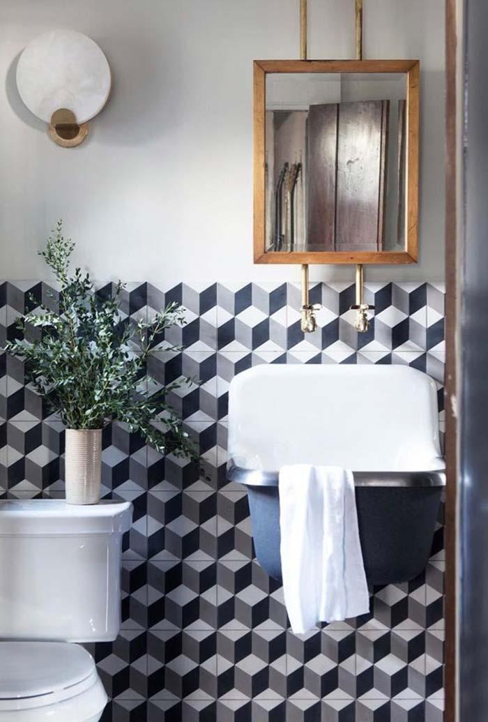 Espelho para banheiro com moldura de madeira