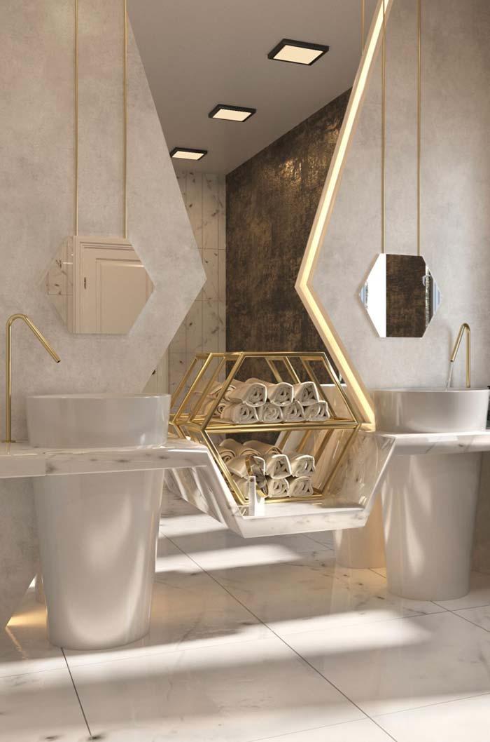 Espelho para banheiro entre pias