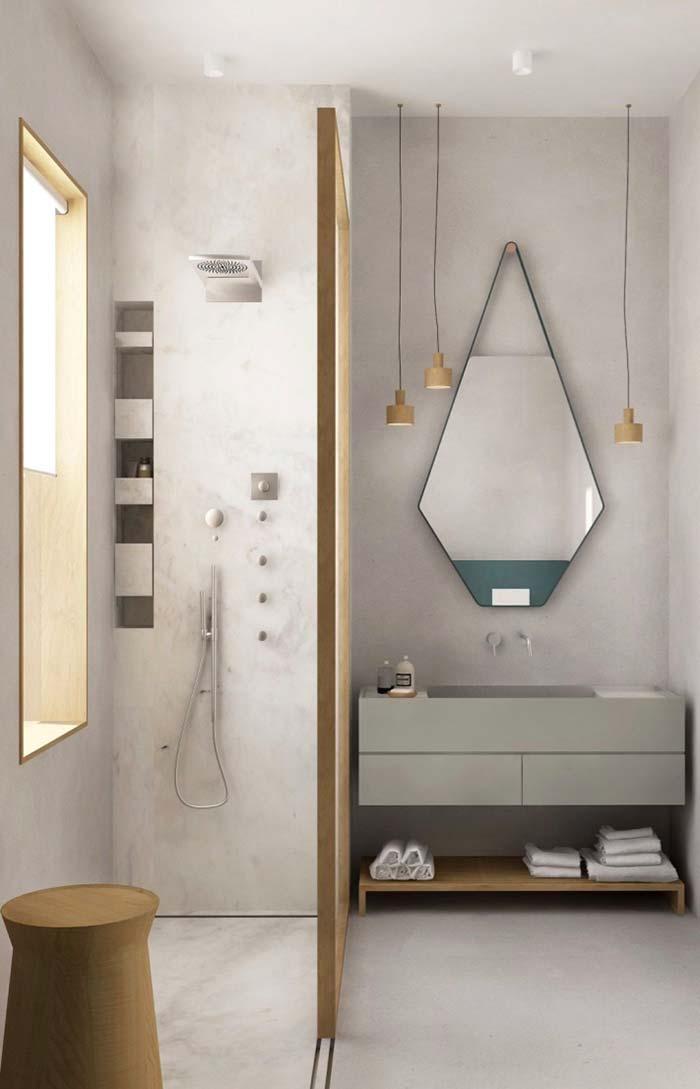 Espelho para banheiro em forma de losango