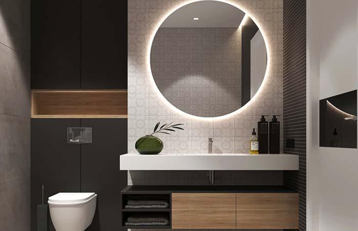 Espelho para banheiro redondo e iluminado