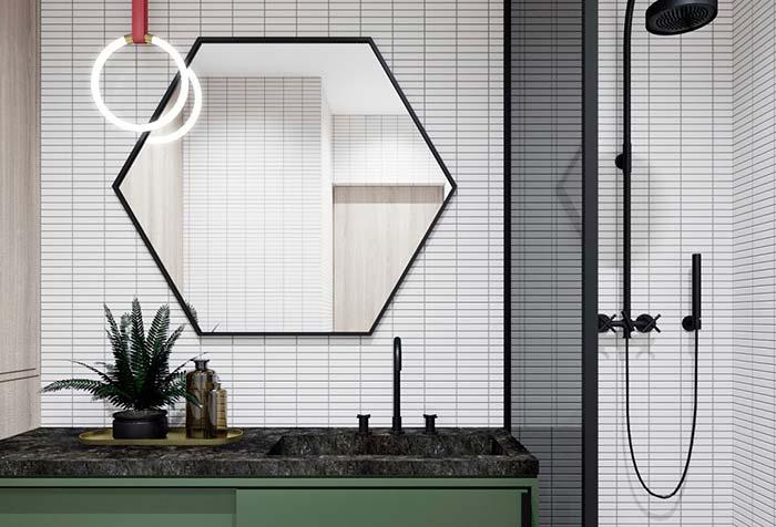 Espelho em formato de hexágono