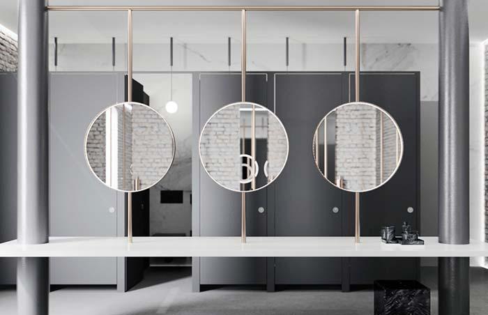 Trio de espelhos suspensos